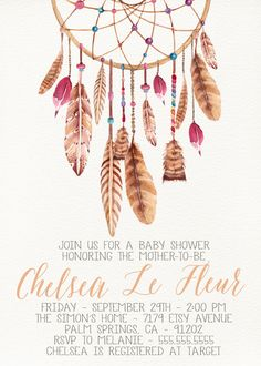 Dream Catcher Boho Baby Shower, Printable, Feathers, Flora designanddonuts.etsy.com