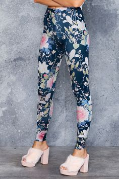 M - Koson Flowers Leggings ($75AUD) by BlackMilk Clothing