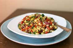 Grilled Summer Vegetable Salad (Grilled Corn, Red Onion, Bell Peppers & Zucchini)