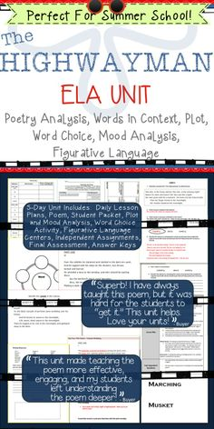 "This five-day unit is a close reading of ""The Highwayman"" by Alfred Noyes. It is designed to help students analyze what the poem says explicitly as well as draw inferences from the text. Topics of study include: Poem Analysis, Words in Context, Plot Sequence, Word Choice, Mood Analysis, Figurative Language, and Inserting Quotes"