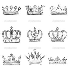 Crown Outline Tattoo Set of sketch royal crown Crown Outline, Crown Art, Crown Painting, Crown Drawing, Small Crown Tattoo, Crown Tattoo Design, Tattoo Small, Coroa Tattoo, Drawing Sketches