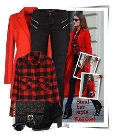 """""""Steal Her Style - Red Coat"""" by fashion-architect-style ❤ liked on Polyvore featuring Daggs, J Brand, Betsey Johnson, Oliver Peoples and MANGO"""
