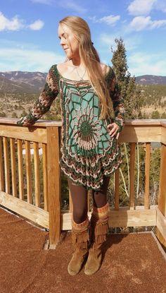 Bohemian crochet pullover/dressevergreen by aMandalaCreations, $100.00