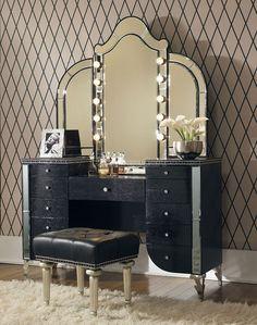 Hollywood Swank Vanity W/ Mirror (Black Iguana) Aico Furniture   Furniture Cart  $1988