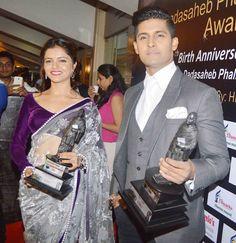 Rubina Dilaik and Ravi Dubey at the Dadasaheb Phalke Film Foundation Awards 2015. #Bollywood #Fashion #Style #Handsome #Beauty