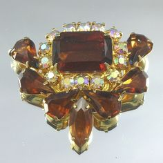 Brown Crystal Rhinestone Vintage Brooch by scdvintage on Etsy, $28.00