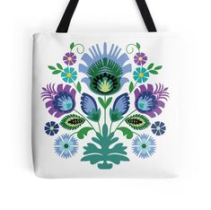 'Polish Folk Flowers Light Blue on Black' Tote Bag by Barbara Pixton
