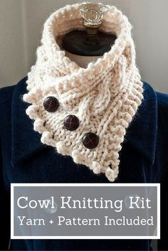 Weather the storm with this feminine (yet functional! Soft and plush, this is the perfect accessory for the cold winter months. Kit includes the yarn and pattern needed to make this cowl from start to finish. Loom Knitting, Knitting Stitches, Free Knitting, Yarn Projects, Knitting Projects, Crochet Projects, Knit Or Crochet, Crochet Scarves, Yarn Crafts