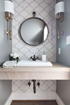 Powder Room Love. Arabesque Tiles, Limestone Tops, Kohler Kathryn sink, brass, @worldmarket mirror Jessica Conner Design & Interiors