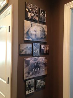 Photo wall in my kitchen. Photos were transferred to wood!