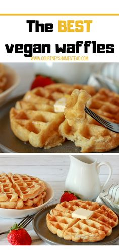 This is the best easy homemade vegan waffle recipe. You could do Belgian or regular waffle iron for these amazing vegan waffles. The post The BEST easy Vegan Waffles appeared first on Tasty Recipes. One Dish Meals Tasty Recipes Vegan Breakfast Recipes, Vegan Recipes Easy, Vegetarian Recipes, Vegan Waffle Recipe Easy, Easy Vegan Food, Belgian Waffle Iron, Desserts Végétaliens, Dessert Recipes, Breakfast