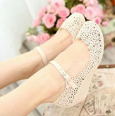 Casual Women's Wedge Shoes With Openwork and Soild Color Design (PINK,40) China Wholesale - Sammydress.com