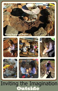 Inspiration for encouraging imaginative play outdoors and the building of a rock 'Imagination Circle'!