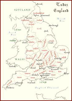 Map of Tudor/Elizabethan England. Tudor History, European History, British History, World History, Family History, Asian History, Uk History, History Books, Dinastia Tudor