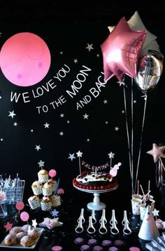 New Birthday Party Girl Themes Baby Ideas - Two the Moon party Themes, Ideas, Images Blue Birthday Parties, Girls Birthday Party Themes, Birthday Balloons, Baby Birthday, Birthday Party Decorations, Birthday Ideas, Birthday Design, Pink Decorations, Gold Birthday