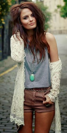 Lace blouse with shorts and V neck T-shirt... HotWomensClothes.com