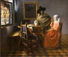 """""""The glass of wine"""" - Johannes Vermeer (1660), Gemaldegalerie Alte Meister, Dresden"""