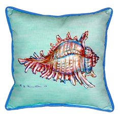 Teal Conch Shell Indoor-Outdoor Pillow - Caron's Beach House