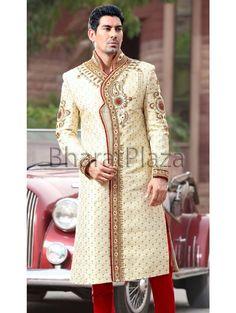 Ethnic Look Brocade Sherwani Sherwani For Men Wedding, Wedding Men, Ethnic Looks, Indian Groom, Groom Attire, Suit And Tie, Churidar, Indian Ethnic, Online Clothing Stores