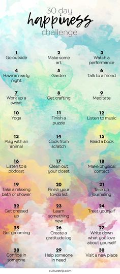 Health Motivation The 30 Day Happiness Challenge - The goal of 'being happy' can be overwhelming. Culture Trip has broken this mission down into 30 easy step 30 Tag, Vie Motivation, Fitness Motivation, Fitness Goals, Easy Fitness, Fitness Quotes, Happiness Challenge, Happiness Is, The Happiness Project