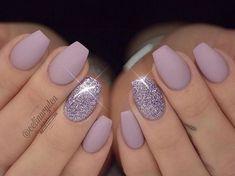 purple glossy nails
