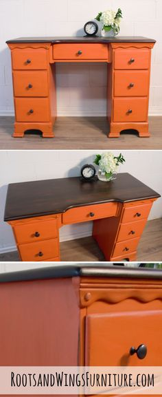 General Finishes Persimmon Milk Paint is the perfect pop of color to  completely transform a piece of furniture. This desk has been  transformed with paint and stain by Jenni of Roots and Wings Furniture.