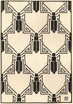 Art Deco Beetle motif endpaper.