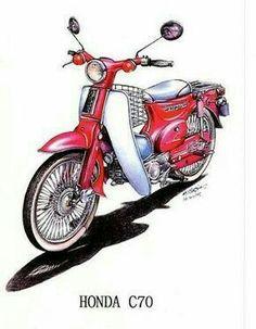 Honda Cycles, Honda Bikes, Honda Cub, Vespa Logo, Bike Illustration, Motor Scooters, Graffiti, Motorcycle Art, Mini Bike