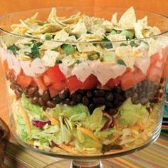 Make-Ahead Mexican Salad Recipe Salads with iceberg lettuce, black beans, tomatoes, taco bell home originals, Knudsen Light Sour Cream, 2% reduced-fat milk, green onions, baked tortilla chips