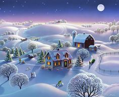 Winter Night Painting - Winter Night by Robin Moline Kinkade Paintings, Winter Night, Winter Art, Farm Art, Winter Photos Christmas Tree Gif, Merry Christmas Animation, Merry Christmas Pictures, Christmas Scenery, Happy Merry Christmas, Christmas Greetings, Vintage Christmas, Merry Happy, Animated Christmas Cards