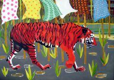 """Saatchi Online Artist: blank skippy; Oil, 2012, Painting """"Cherry Tiger"""" #art"""