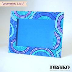 Blue photo frame / Portaretrato Azul Mandala Painting, Dot Painting, Mandala Art, Painting Frames, Mandala Design, Painted Boxes, Hand Painted, Bohemian Pictures, Cardboard Frames
