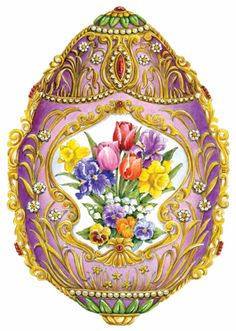 Fab Egg with Spring Flowers - Daffodils, Pansies,Lilly of The Valley, Tulips and Iris Egg Crafts, Easter Crafts, Pansies, Daffodils, Fabrege Eggs, Faberge Jewelry, Decoupage, Egg And I, Egg Designs