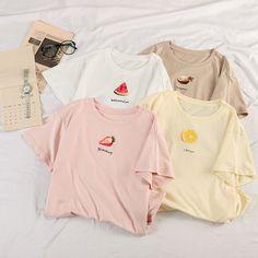Zhanbara Short-Sleeve Fruit Print T-Shirt 90s Girl Fashion, Korean Girl Fashion, Girls Fashion Clothes, Cute Fashion, Aesthetic T Shirts, Aesthetic Clothes, Kawai Japan, Casual Outfits, Cute Outfits