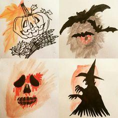 Autum halloween watercolor