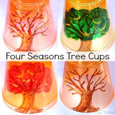 Four Seasons Tree Cups for Light Play - Play Trains!
