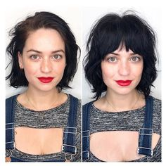 New Bob Haircuts 2019 & Bob Hairstyles 25 Bob Hair Trends for Women - Hairstyles Trends Bob Haircut With Bangs, Short Hair With Bangs, Curly Bob With Fringe, Bangs Curly Hair, Bangs Short Hair, Short Hairstyles With Bangs, Dark Hair Bangs, Short Bob With Fringe, Blunt Bob With Bangs