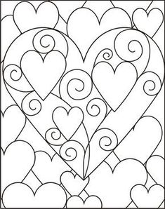 Beautiful hearts design to use for crafting or to print and color. Heart Coloring Pages, Colouring Pages, Adult Coloring Pages, Coloring Books, Heart Template, Stained Glass Patterns, Valentine Day Crafts, Art Plastique, Quilting Designs