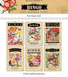 OFF SALE Digital vintage floral bingo cards / romantic Valentine ephemera / 5 Mini Scrapbook Albums, Mini Albums, Scrapbook Photos, Vocabulary Flash Cards, Valentine Bingo, Bingo Cards, Journal Cards, Junk Journal, Etsy Crafts