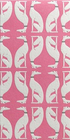 Pink and white art deco greyhound/whippet print Surface Pattern, Pattern Art, Surface Design, Pattern Design, Dog Pattern, Pretty Patterns, Color Patterns, Textile Patterns, Textile Design