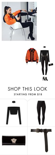 """Slay trick, or you get eliminated"" by ayabelle ❤ liked on Polyvore featuring J Brand and Versace"