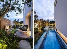 Beispiele schmaler Garten Gestaltung Pool