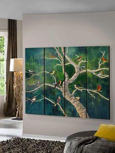 Polipticos de Madera BIRDS. Decoracion Beltran, venta online cuadros y pinturas decorativas.