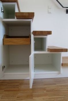 Cupboard stairs – exactly tailored Source by ebbeeck Bedroom Loft, Bedroom Decor, Stair Storage, Attic Spaces, Tiny House Living, Under Stairs, Staircase Design, Marie Antoinette, Creative Home