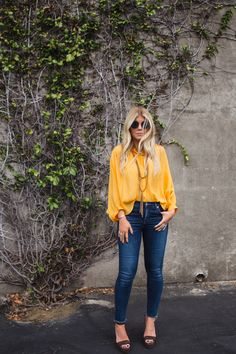 Bright and bold yellow top with dark denim and heels. Fall Senior Pictures, Senior Pics, Lunchpails And Lipstick, Lisa Allen, Senior Picture Outfits, Classic Style, My Style, Yellow Top, Dark Denim