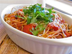 """It's official: zesty, fresh tomato pasta is on the top of my """"last suppers""""…"""