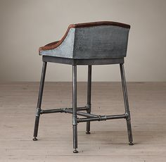 Iron Scaffold Leather Stool. just a great look, wonder if there are cheaper copies...