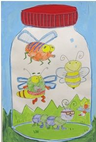 Reminds me of the book Snug House Bug House Bugs in a Jar - color pencil bugs, the rest is tempera paint. You can see more of my clay and painting lessons at www. Classroom Art Projects, School Art Projects, Art Classroom, Art Sub Plans, Art Lesson Plans, Doodle Drawing, 2nd Grade Art, Insect Art, Kindergarten Art