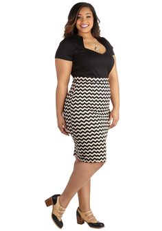 plus size zigzag print skirt