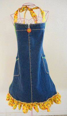 Recycled Denim BBQ Style Jean Apron With Ruffle by LizandLaurie, $20.00